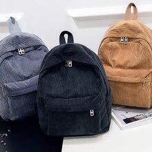 Corduroy Backpack Mochila School-Bags Teenger Girl Fashion Women Female Pure-Color