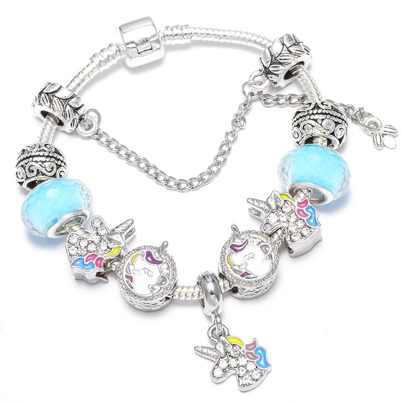 BAOPON Прямая поставка винтажные Подвески серебряного цвета браслеты для женщин DIY Кристальные бусины изящные браслеты для женщин Pulseira ювелирные изделия - Окраска металла: Type 19