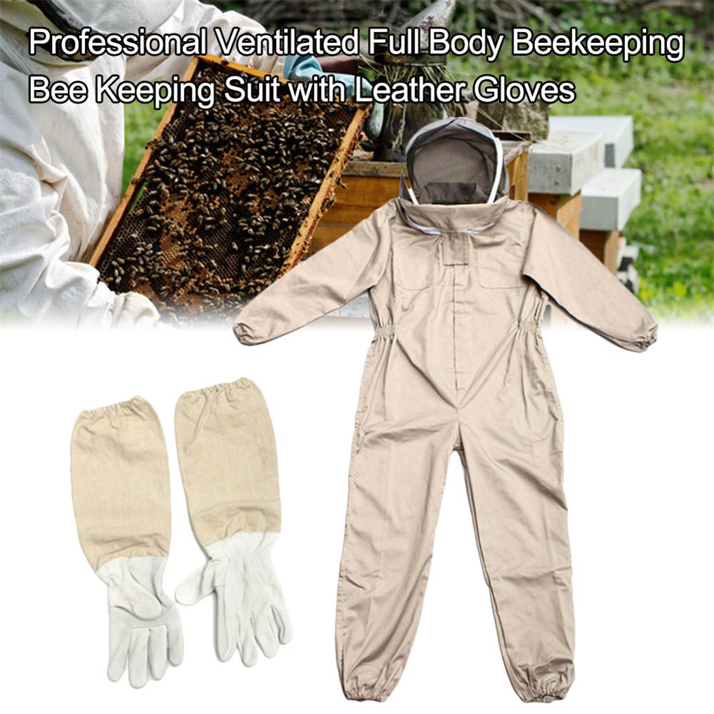Professional Ventilated Full Body Beekeeping Suit Unisex Design Siamese Bee Clothing With Leather Gloves Coffee Color