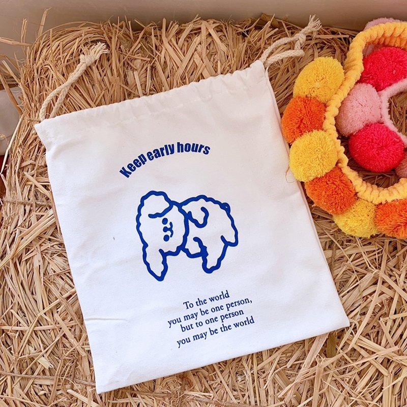Cute Durable Cloud Canvas Drawstring Bags Cute Pattern Pocket Carrying Case Puppy Bunch Pocket Drawstring Bag Hot