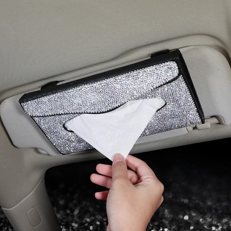 Bling Car Visor Tissue Holder Hanging Rhinestone Paper Towel Cover Case