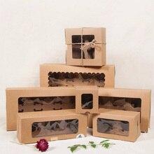 Крафт 6 коробка для кексов и упаковочная бумага картон крафт коробка для кексов с прозрачным ПВХ окном 8 кексов 4 подарочная упаковка крафт-коробка