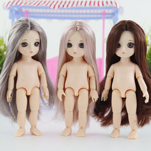 купить 1/8 16 CM Original Bjd Doll Toy 13 Moveable Jointed Bjd Baby Doll Makeup Dress up Nude Body Normal Skin Doll Toy For Girls Gift онлайн