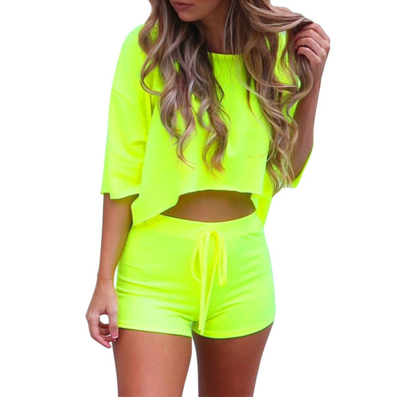 T-Shirt Suit Shorts Yoga-Set Body Two-Piece Women Summer Casual Slim Loose Solid-Color