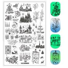 Tamanho grande natal dia das bruxas prego placas de carimbo natal nai arte carimbo de aço inoxidável artista simples stamping template stencils