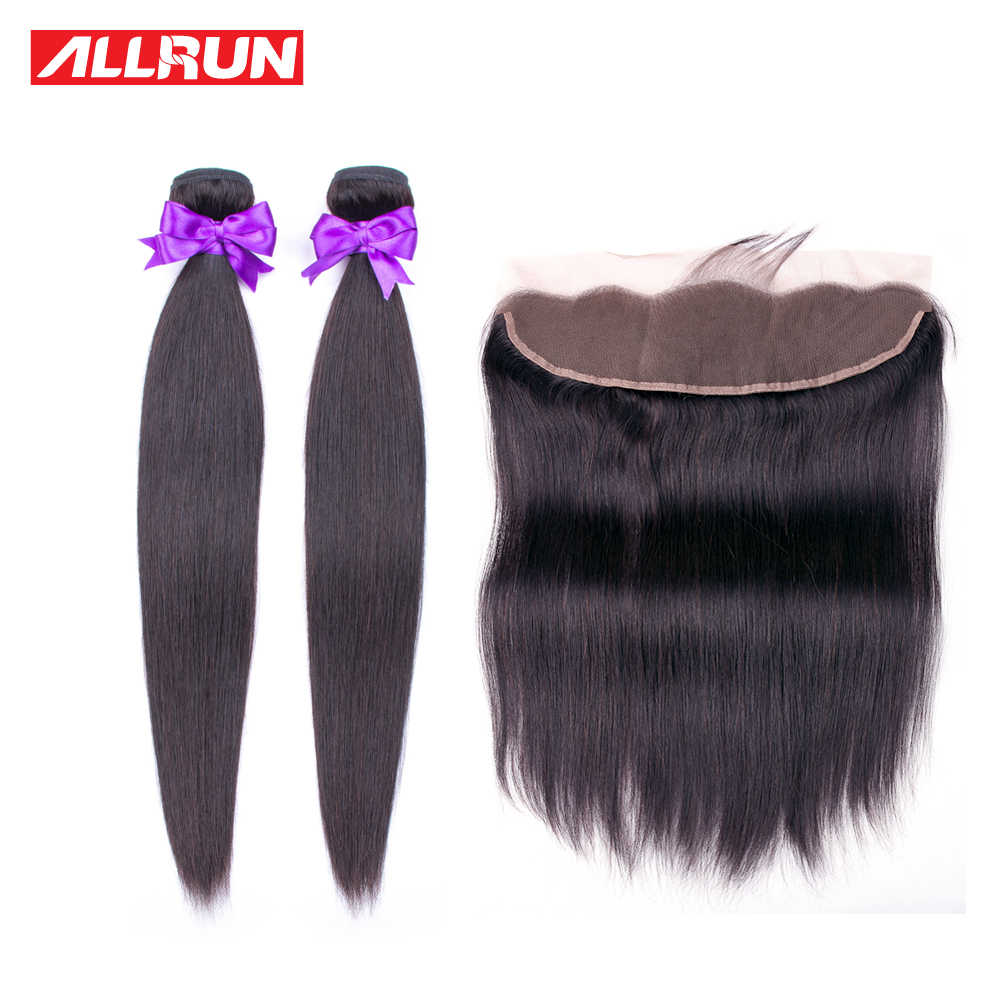 Allrun Straight Hair Bundles With Frontal Non-Remy Human Hair Bundles With Closure Brazilian Hair Weave 2 Bundles With Closure