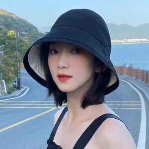 Verano negro sombrero con forma de cubo para mujer japonesa Anti-sol sombrero de pesca 2020 de moda sombrero de pescadores dos Reversible Bob Panamá