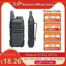 RETEVIS RT622 워키 토키 2 pcs PMR446 PMR 라이센스 무료 휴대용 워키 토키 2 pcs 복스 미니 양방향 라디오 방송국 FRS RT22