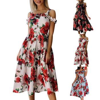 Vintage Casual Sundress Beach Off Shoulder Dresses Floral Print Summer Dress Women Midi Dress Spaghetti Strap Boho Sexy Dress