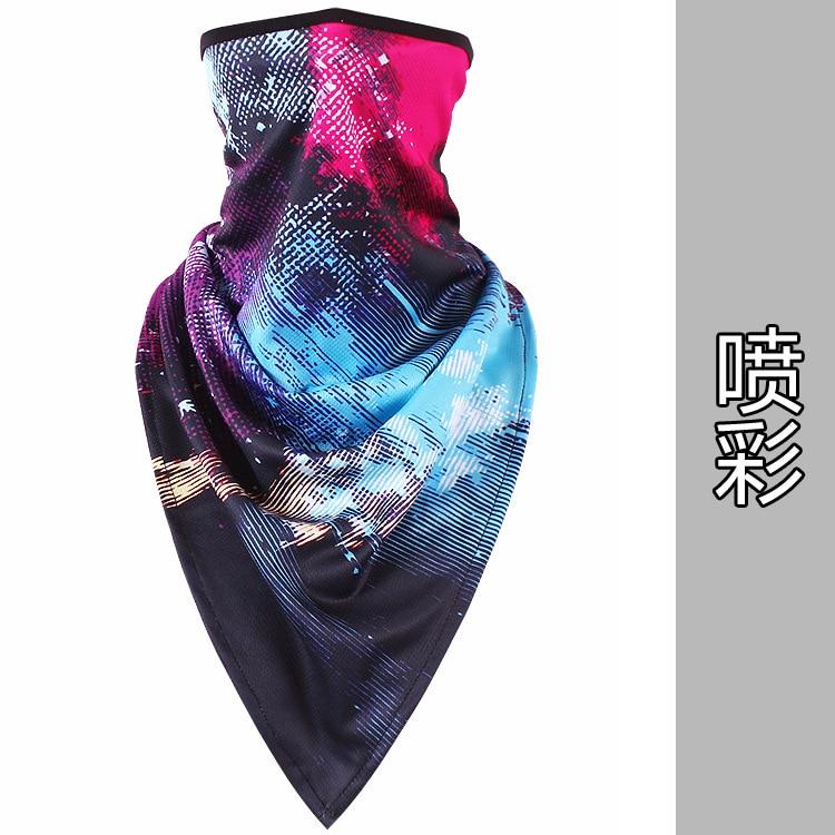 Новое ледяное шелковое треугольное полотенце крутой дышащий платок на голову воротник Мужская и женская маска от Солнца маска ошейник - Цвет: Spray color