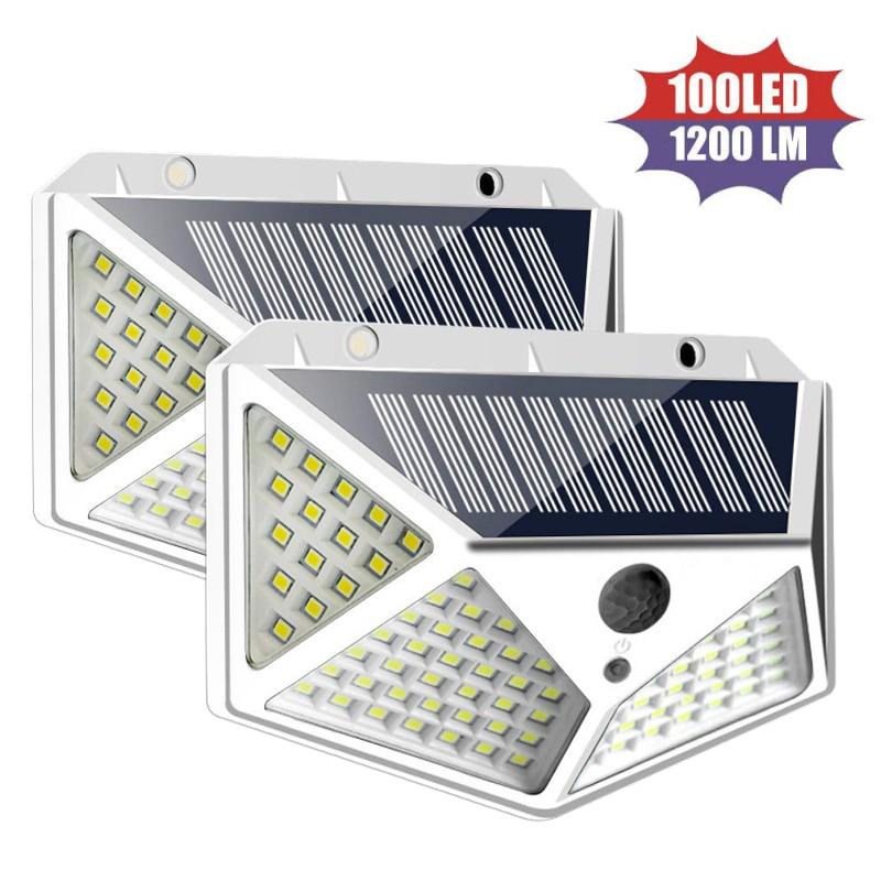114/100 LED güneş işık açık güneş lambaları PIR hareket sensörü duvar işık su geçirmez güneş güneş enerjili bahçe sokak ışıkları