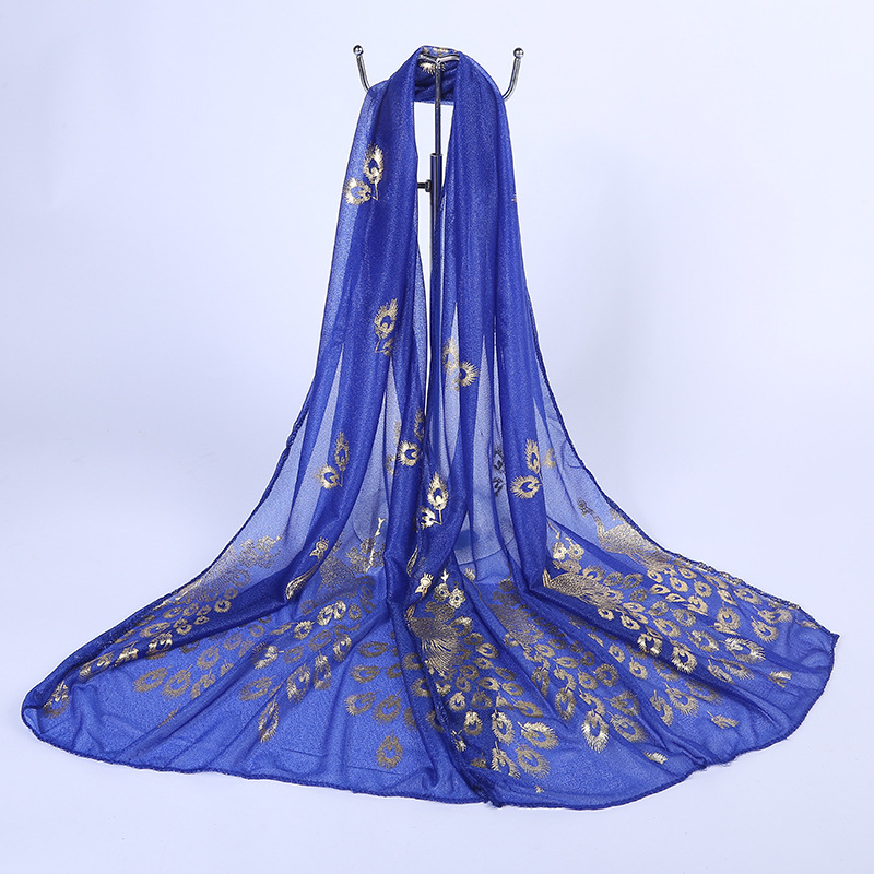 160*50cm Women Summer Chiffon Thin Scarves Tippets Anti UV Sun Protection Cool Breathable Beach Cover Up With Totem Embroidery