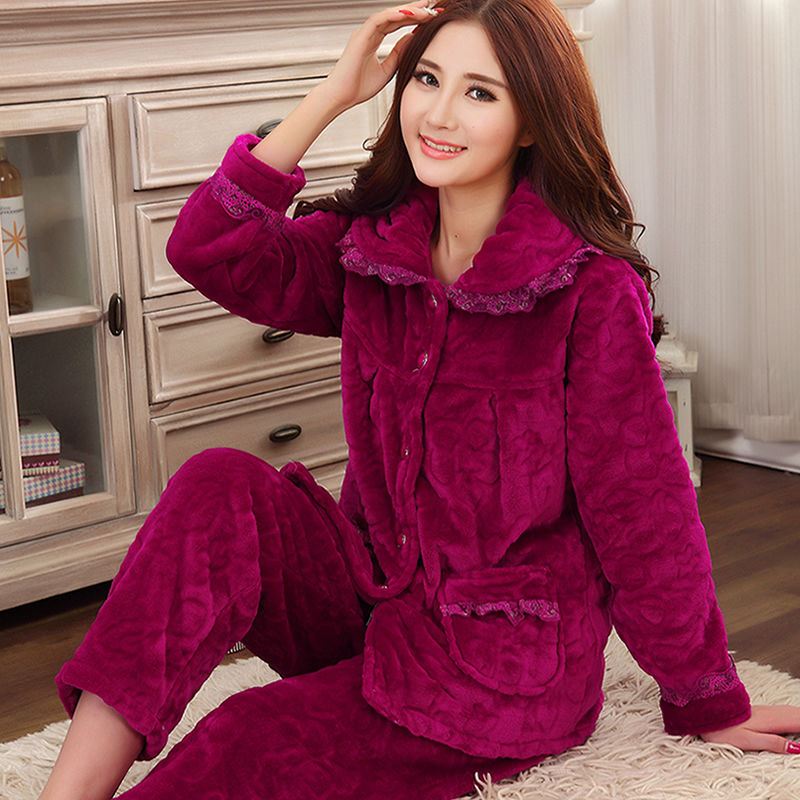 Winter Thick Flannel Women Pajamas Sets Velvet Autumn Warm Sleepwear Female Pyjamas Homewear Thick Home Suit