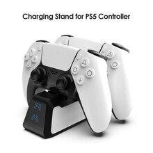 Carregador rápido duplo para ps5 controlador sem fio usb 3.1 tipo c estação de carregamento rápido berço doca para sony playstation5 gamepad
