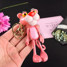 2019 New Hot Keychain Vinyl Doll Gift For Women Pink Panther Cartoon Keychain Creative Birthday Key Chain Ring For Men Or Women wholesale real black blue grey pink python leather key chain customize keychain gift men women xmas family birthday couple gifts