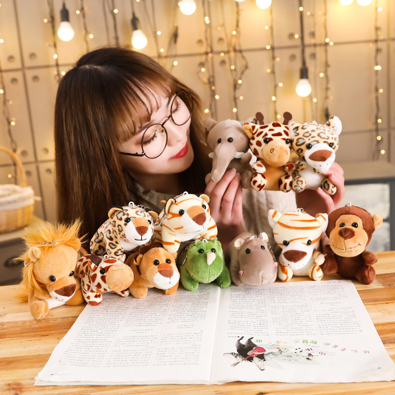 Simulating Small Animal Plush Toys Elephant Monkey Lion Leopard Trumpet Grab Doll Hanging Tiger Doll Keychain Plush Toy Super
