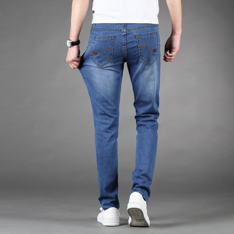 Elasticity Spring And Summer MEN'S Jeans Men's Thin Korean-style Slim Fit Slimming Straight-Cut Youth Extra-large And Lard-bucke