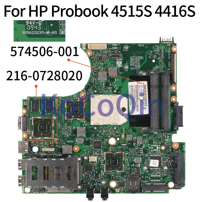 For HP Probook 4515S 4416S 574506-001  6050A2252301-MB-A05 216-0728020  Laptop Mainboard Motherboard