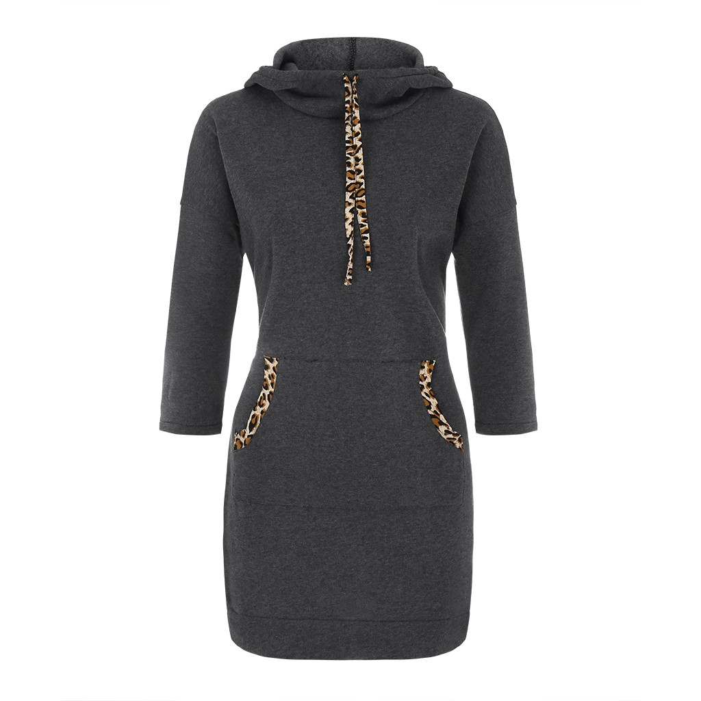 Sping Dresses Women Long Sleeve Solid Jumper Pullover Sweatshirt Hoodie Hooded Dress Straight Fashion New Dress Women 2020