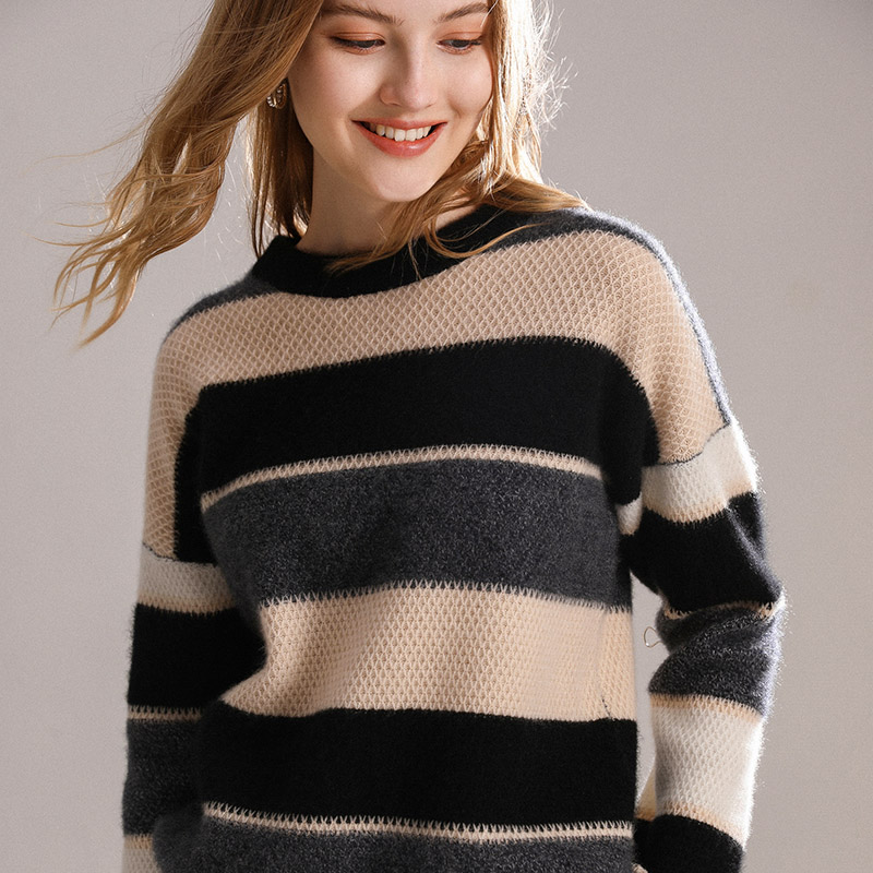 Autumn And Winter New Cashmere Sweater Color Matching Women's Top 100% Pure Cashmere