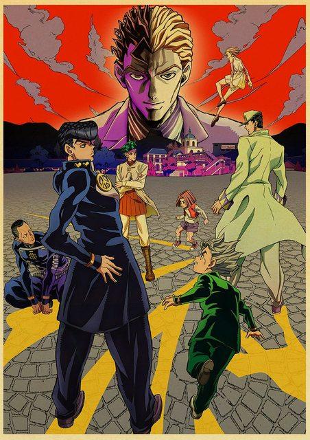 Anime JoJo's Bizarre Adventure JOJO Poster Action Anime retro Poster Painting Wall Art for Living Room /Bar Decor 2