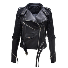 Jacket Motorcycle Real-Leather Women Fashion Casual Zipper Autumn Sheepskin Streetwear