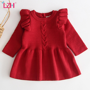 Christmas Dress For Baby Girls Autumn Winter Long Sleeve Sweater Dress Newborn 1 Year Birthday Party Dress Infant Baptism Dress(China)