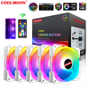 COOLMOON DUAL OVAL II 5V 3Pin ARGB Cooler Fan 120mm Ring Shaft Glow PC Cooler with Remote Control Adjust Speed Air Cooling Fans
