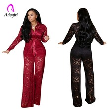 Burgundy 2019 Winter Lace See Through Tracksuit Women Set Shirt + Wide Leg Pants Lady Outfit Sexy 2 Two Pieces Office