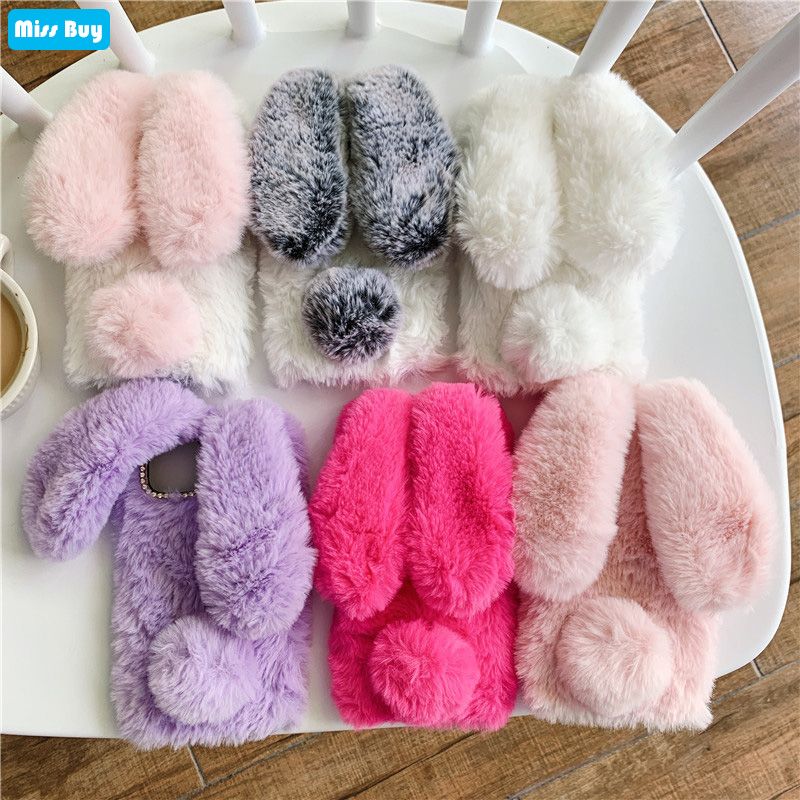 6.09'' For <font><b>Huawei</b></font> <font><b>Y6</b></font> <font><b>2019</b></font> <font><b>Case</b></font> Rabbit Warm fur hair <font><b>Case</b></font> For <font><b>Huawei</b></font> <font><b>Y6</b></font> <font><b>2019</b></font> <font><b>Case</b></font> <font><b>Cover</b></font> Y 6 <font><b>2019</b></font> 6Y Diamond Plush Soft TPU <font><b>Cover</b></font> image