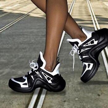 2020, zapatillas De plataforma para Mujer, INS, malla De moda, Zapatos vulcanizados para Mujer, Zapatos De Mujer De suela gruesa, Zapatos informales De cuña plateada para papá