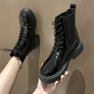 Women Boots Ankle Short Shoes Autumn Patent leather Lace up Ladies Female Pu Non Slip Winter Footwear 2020 Shoes Woman