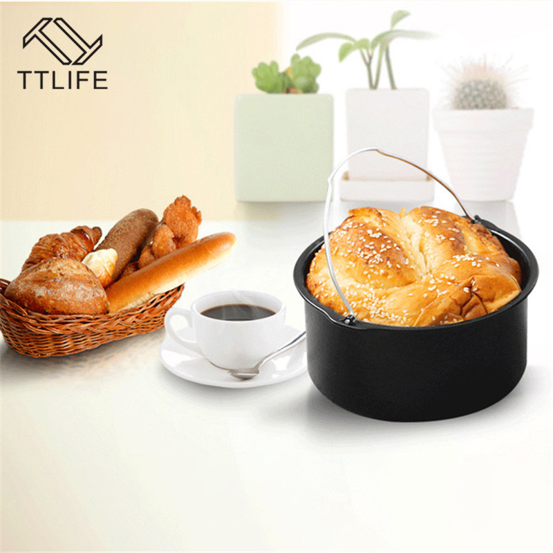 "TTLIFE 6"" 7"" 8"" Replacement Air Fryer Accessories Frying Cage Dish Baking Pan Rack Tray Set Cake Barrel Pizza Pan Baking Pans"