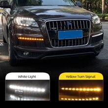 자동차 깜박이 2Pcs 아우디 q7에 대 한 LED DRL 2010 2011 2012 2013 2014 2015 동적 노란색 차례 신호 주간 러닝 라이트 안개 램프
