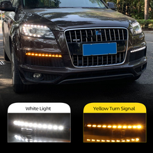 Car Flashing 2Pcs LED DRL For Audi Q7 2010 2011 2012 2013 2014 2015 Dynamic Yellow Turn Signal Daytime Running Light Fog Lamp
