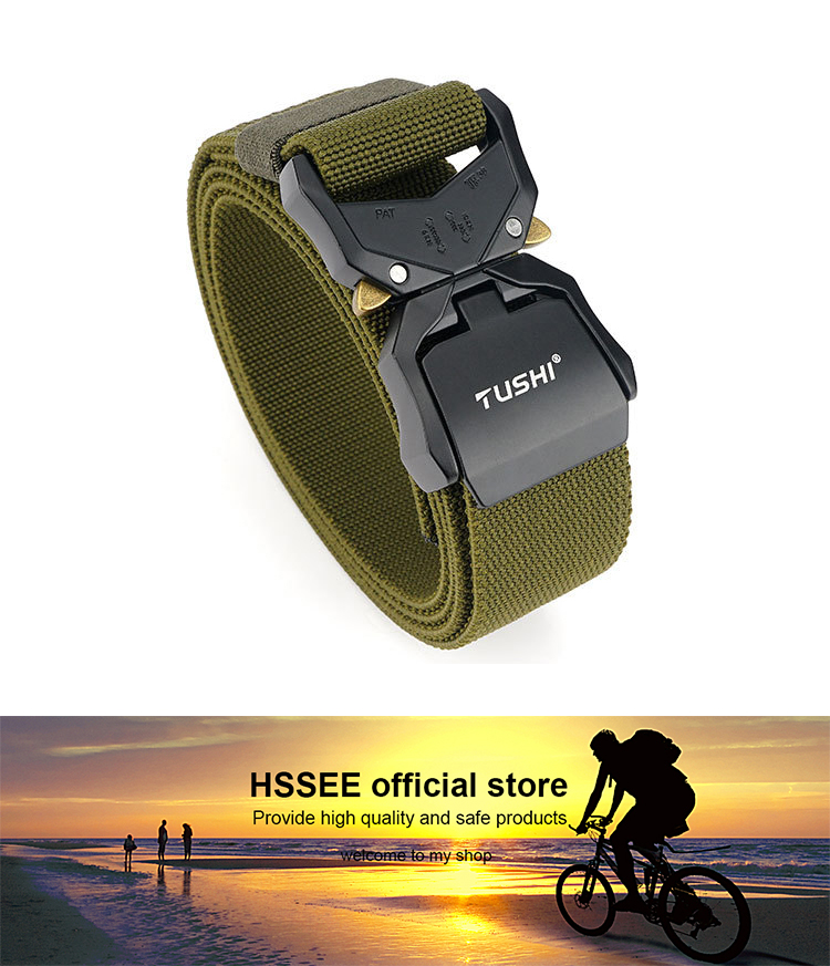 Hbf8eccb97b2847848f90dbf74adc5ed8W - HSSEE New Elastic Belt Official Genuine Hard Metal Quick Release Buckle Men's Tactical Belt Men's Accessories