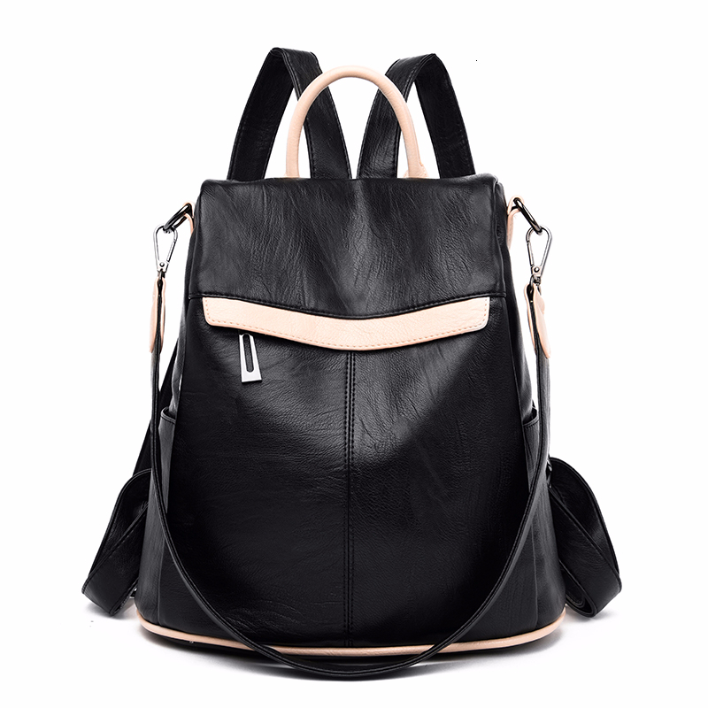 2019 Women Leather Backpacks Large Capacity Travel Shoulder Bag School Bags For Girls Sac A Dos Female Soft Leather Backpack New