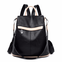 2019 kadın deri sırt çantaları büyük kapasiteli seyahat omuz çantası kızlar için okul çantaları kese Dos kadın yumuşak deri sırt çantası yeni