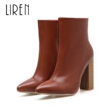 Liren 2019 Spring/Autumn Women Fashion Sexy Ankle Zip Boots High Square Heels Lady Toe Comfortable