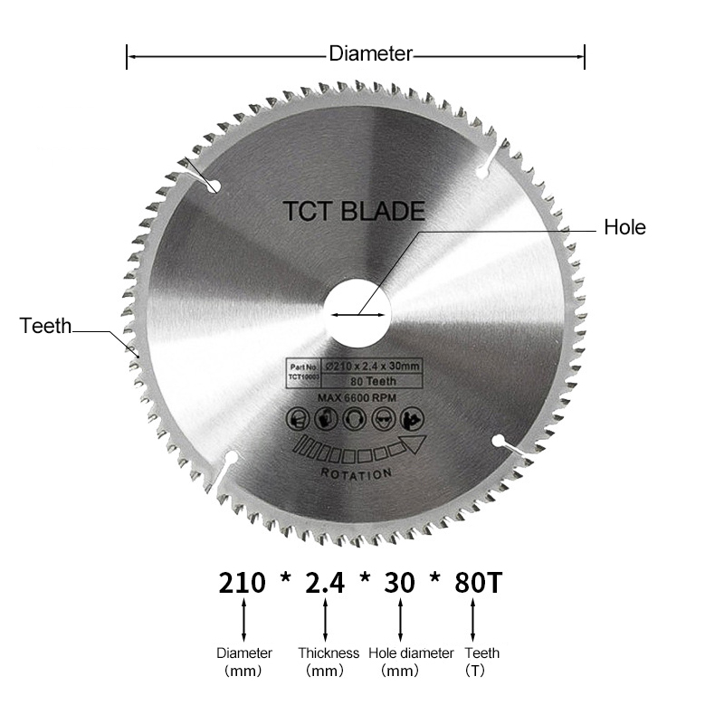 210mm 80 Teeth Carbide Alloy Steel Circular Saw Blade Disc For Wood And Aluminum Metal Woodworking Rotary Tools
