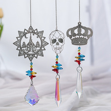 New Fashion Romantic Castle  Crown Window Hanging AB Bead Colorful Glass Pendant Home Decoration Accessories Modern Best Gift