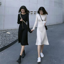 Women Casual Maxi Dress 2019 Autumn Korean Slim Long Dresses Knit Long Sleeve Dress(China)