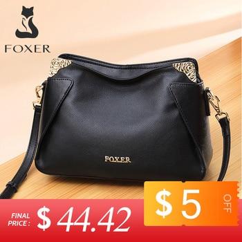 FOXER Brand Women Fashion Crossbody bag Genuine leather Shoulder bags Female Chic Messenger Bag for Lady Stylish Commute Purse