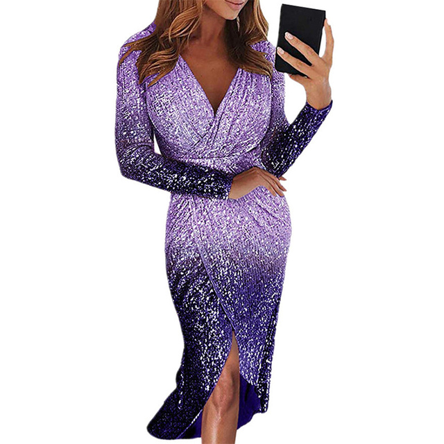 Movokaka Night Dress Women 2021 Long Sexy Sequins Dresses For Women Party Gradient Color Dresses Woman Long Sleeve Women's Dress 4