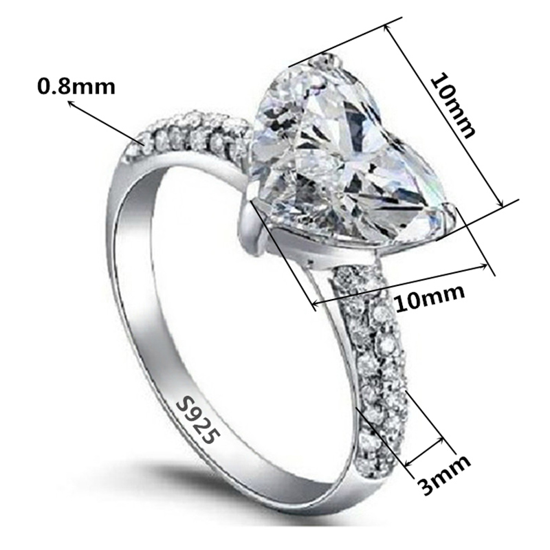Jewelry Luxury Fashion Heart Ring AAA Zircon White Sapphire 925 Silver Plated