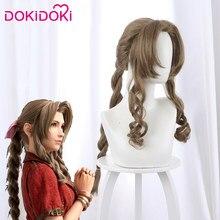 Dokidoki jogo ffvii aerith peruca cosplay cabelo loiro feminino final fantasia vii peruca cosplay aderith gainsborough perucas