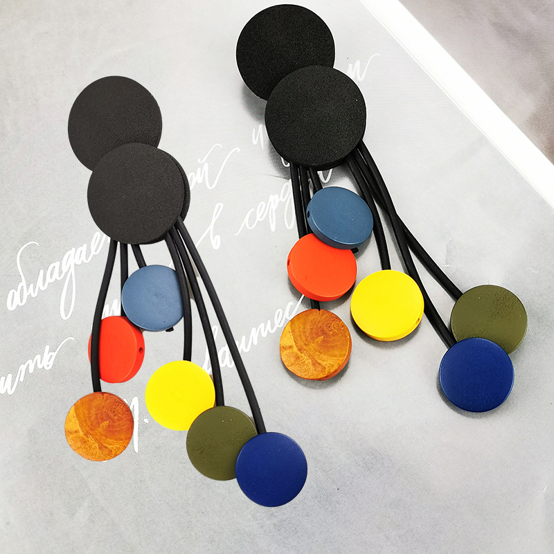 UKEBAY New Wood Earrings For Women Long Big Earrings Gothic Jewelry Handmade Multicolor Drop Earring Party Birthday Gift Boho