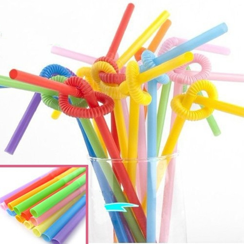 Color/100 Sticks/Disposable Single Elbow Plastic Artistic Straw