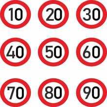 Carro sticke decalr, limite de velocidade 10 20 30 40 50 60 70 80 90 km/h para vários decoraçãoalta qualidade moda, 15cm * 15cm