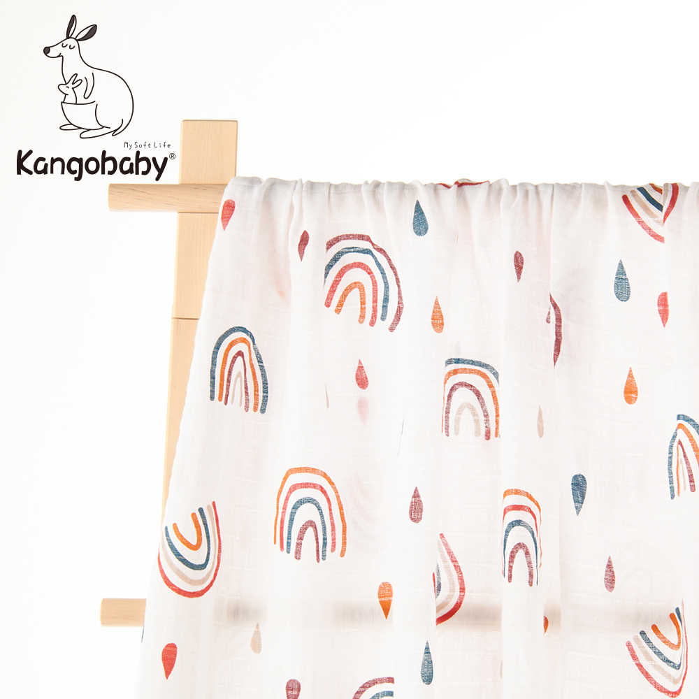 Kangobaby #Rainbow Island# Cute Fashion 100% Cotton Baby Muslin Swaddle Blanket